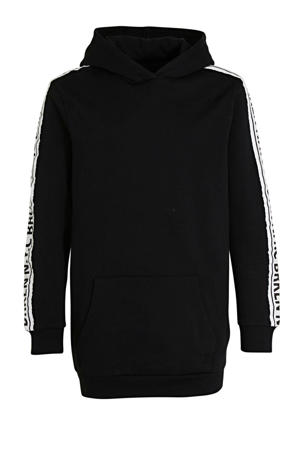 hoodie Katja met contrastbies zwart