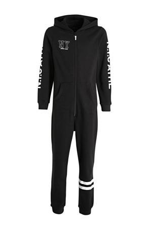 onesie met capuchon en tekst zwart/wit