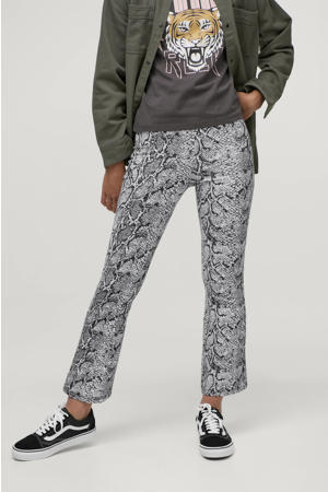flared legging Molly met slangenprint grijs/wit