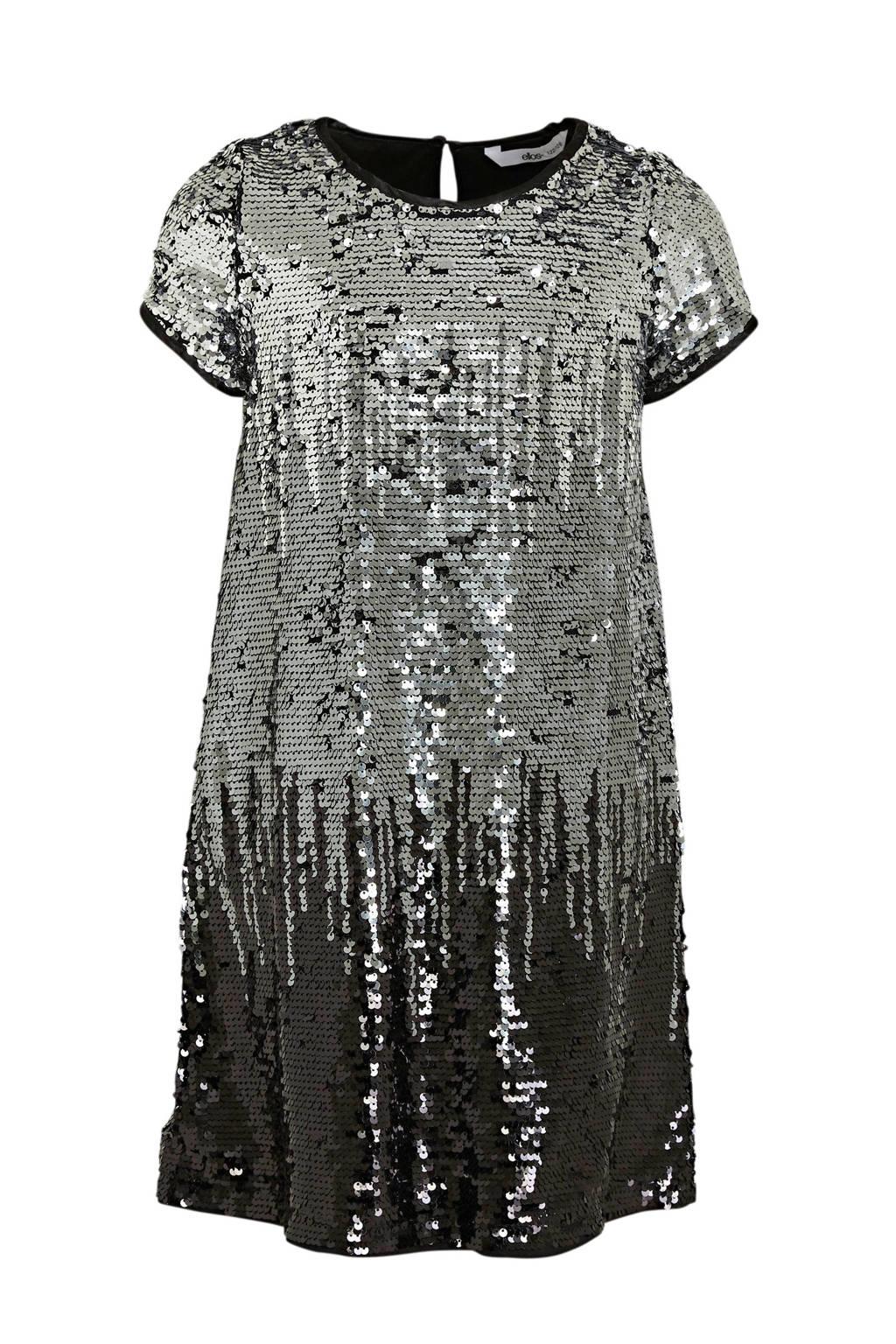 Ellos pailletten jurk Agda zilver/zwart, Zilver/zwart