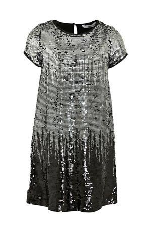 pailletten jurk Agda zilver/zwart