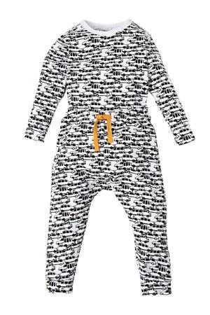 baby romper + broek met all over auto print zwart/wit