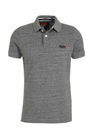 gemêleerde regular fit polo grijs