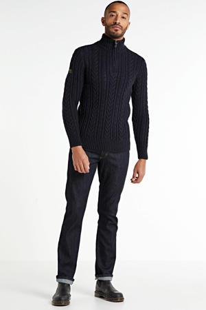 kabeltrui met wol donkerblauw