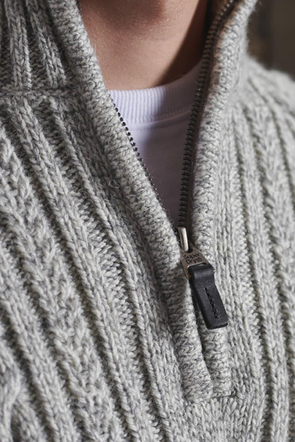 Superdry kabeltrui met wol lichtgrijs melange, Lichtgrijs melange