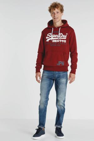 hoodie met logo rood/wit/grijs