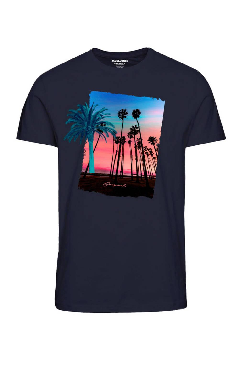 JACK & JONES ORIGINALS T-shirt met printopdruk donkerblauw, Donkerblauw