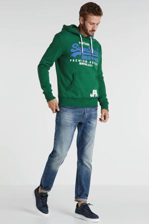 hoodie met logo groen/blauw/wit