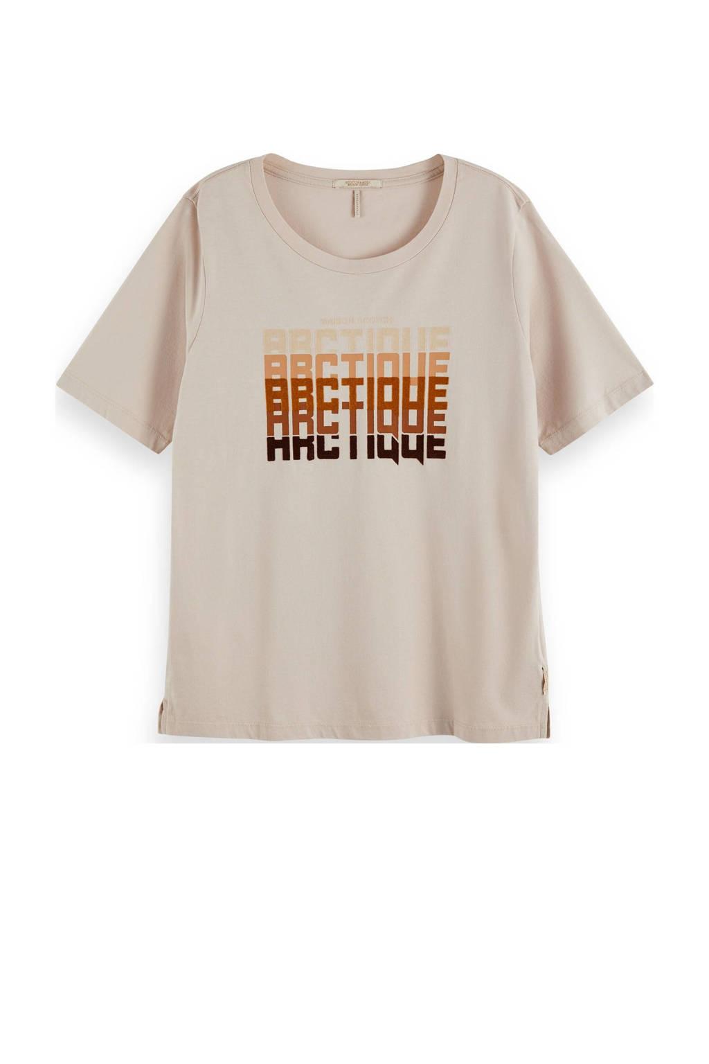 Scotch & Soda T-shirt van biologisch katoen zand, Zand