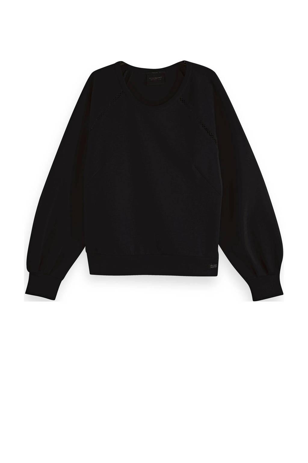 Scotch & Soda sweater met open detail zwart, Zwart