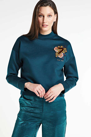 sweater met 3D applicatie blauw
