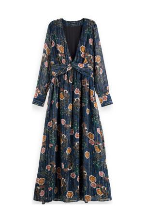 gebloemde maxi jurk donkerblauw