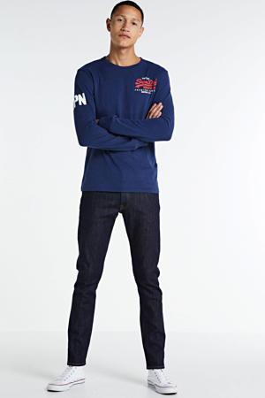 longsleeve met logo donkerblauw