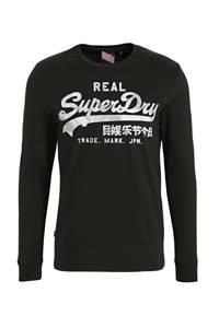 Superdry longsleeve met logo zwart, Zwart