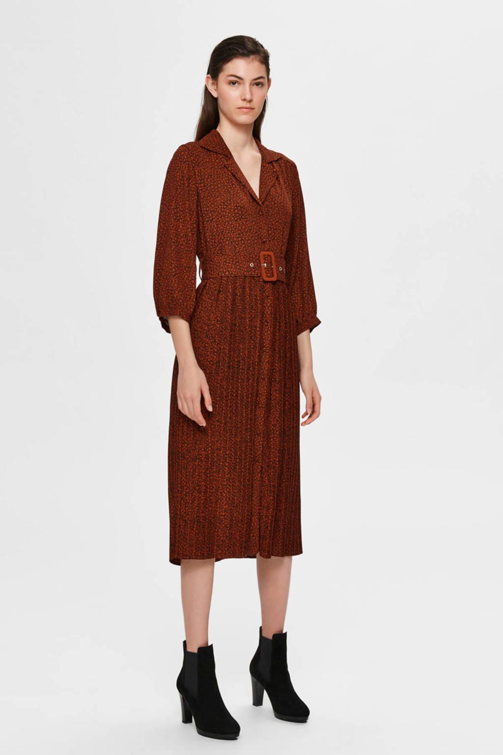 SELECTED FEMME jurk met all over print donkerrood, Donkerrood