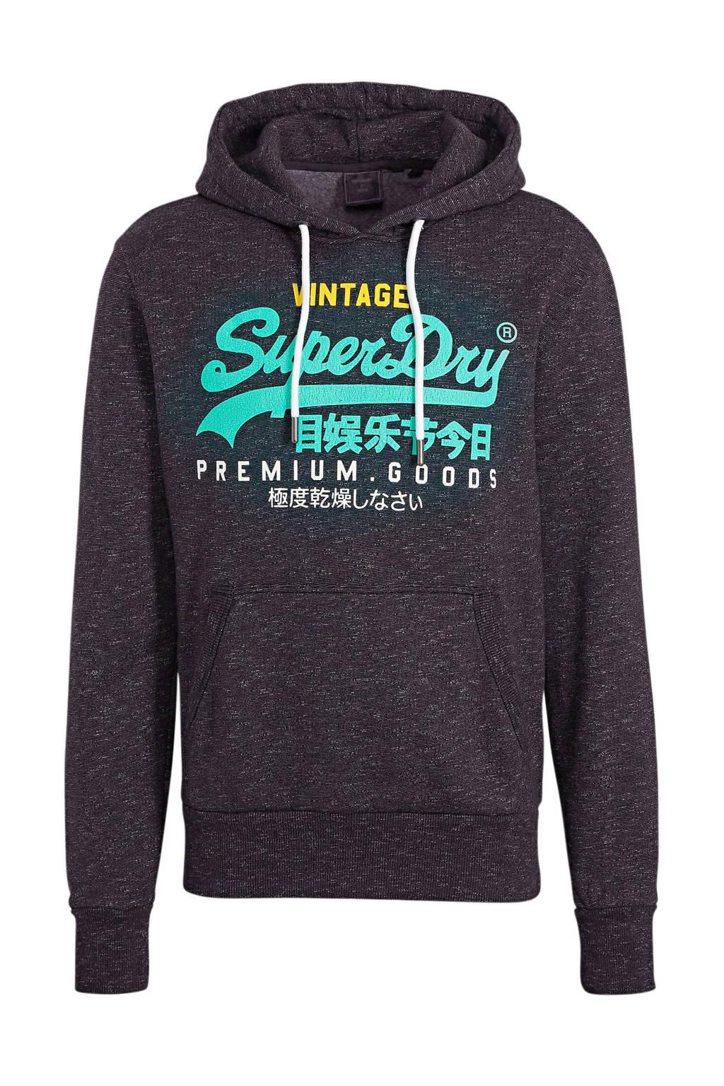 Superdry hoodie met logo donkerblauw, Donkerblauw