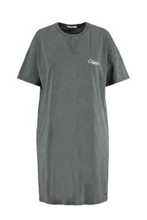 jurk met printopdruk grijs/wit