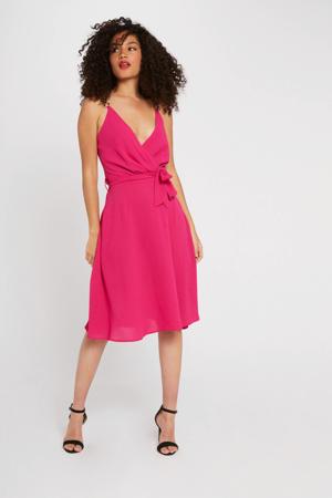 jurk met ceintuur fuchsia