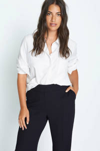 Violeta by Mango high waist straight fit pantalon zwart, Zwart