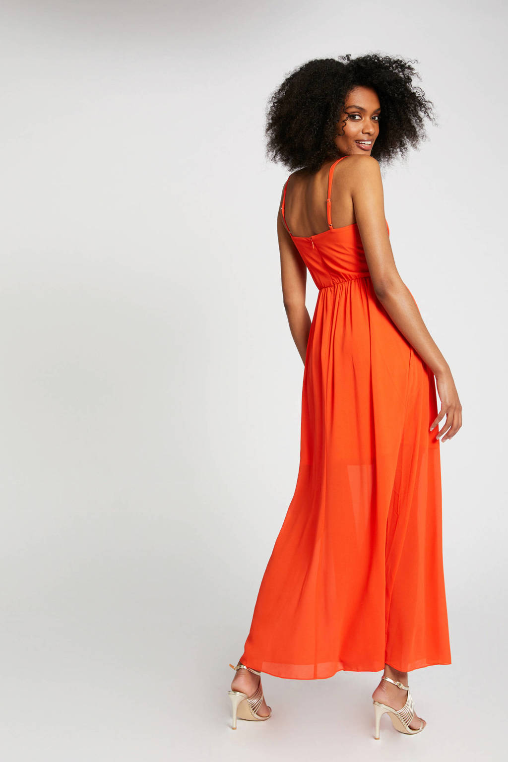 Morgan jurk met plooien oranje, Oranje