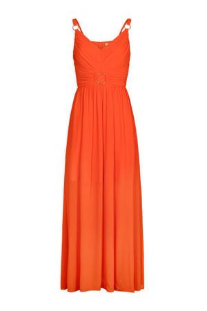 jurk met plooien oranje