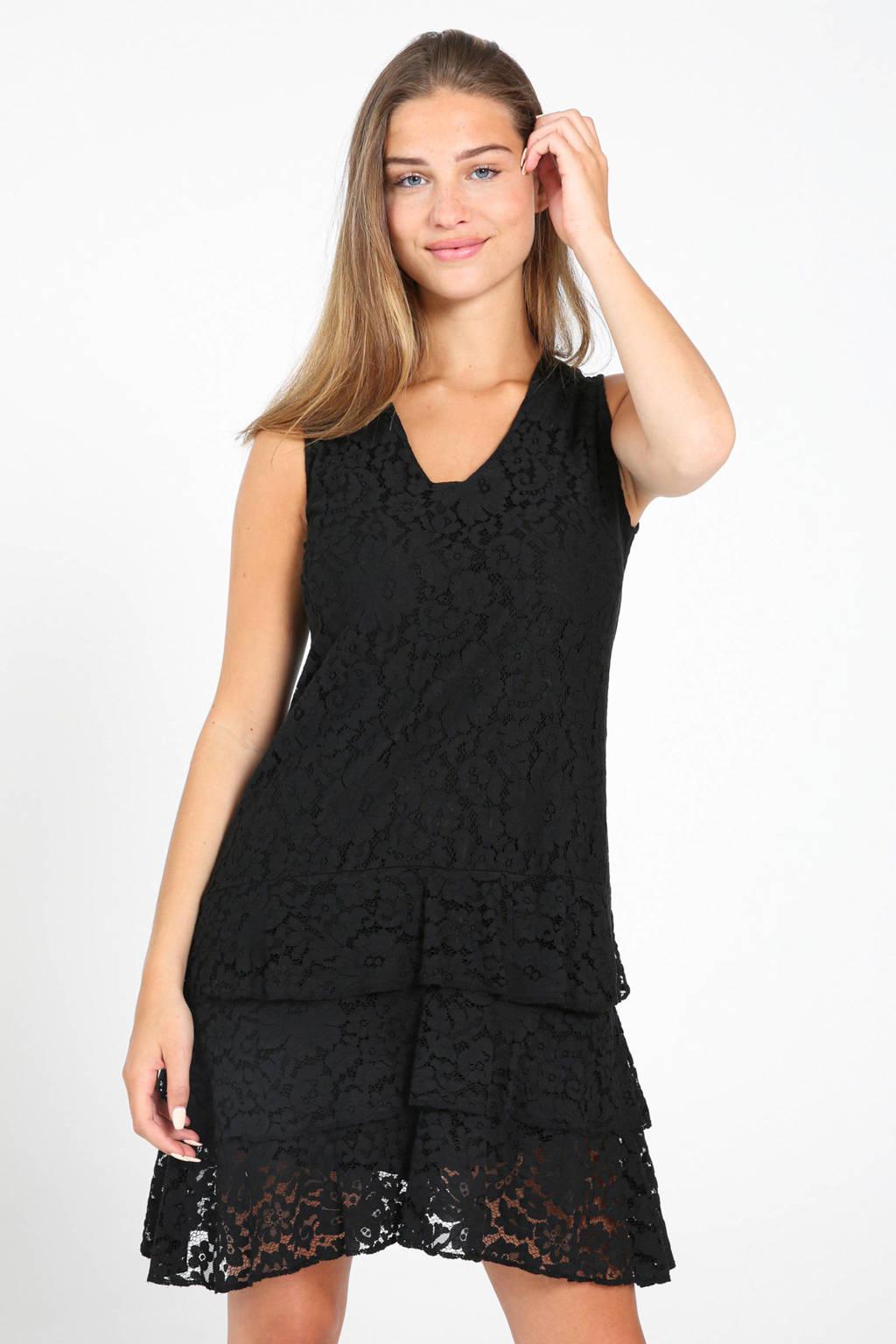 Cassis kanten jurk met volant zwart, Zwart