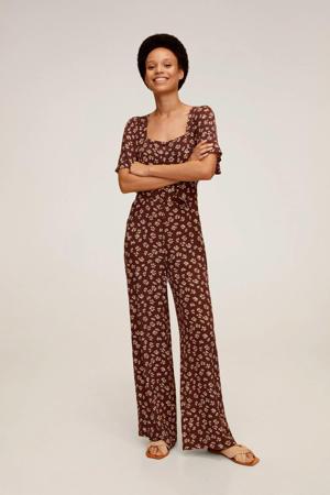 jumpsuit met bloemenprint roodbruin