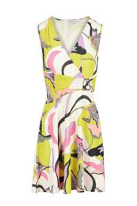 Morgan jurk met all over print en ceintuur geel/wit/roze, Geel/wit/roze