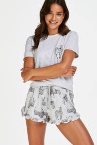 Hunkemöller pyjamatop met printopdruk grijs, Grijs