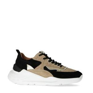 chunky sneakers zwart/camel