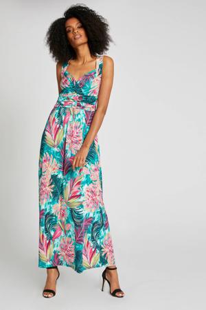 jurk met bladprint turquoise/roze