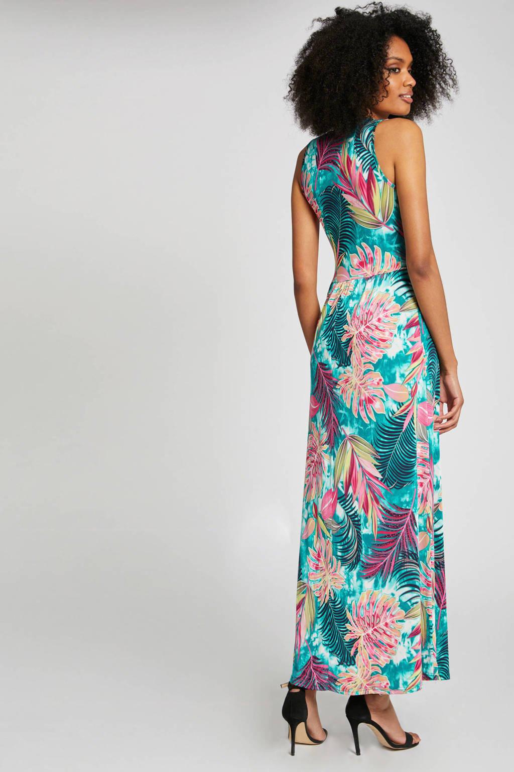 Morgan jurk met bladprint turquoise/roze, Turquoise/roze