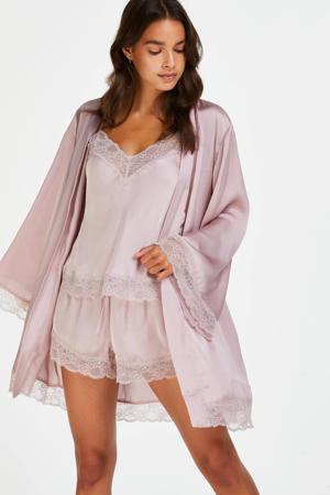satijnen kimono roze