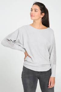 Cassis fijngebreide trui met sierstenen grijs, Grijs