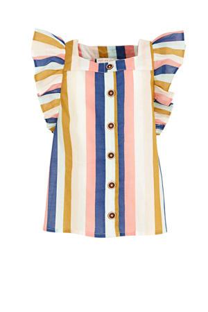gestreepte blouse ecru/oudroze/donkerblauw