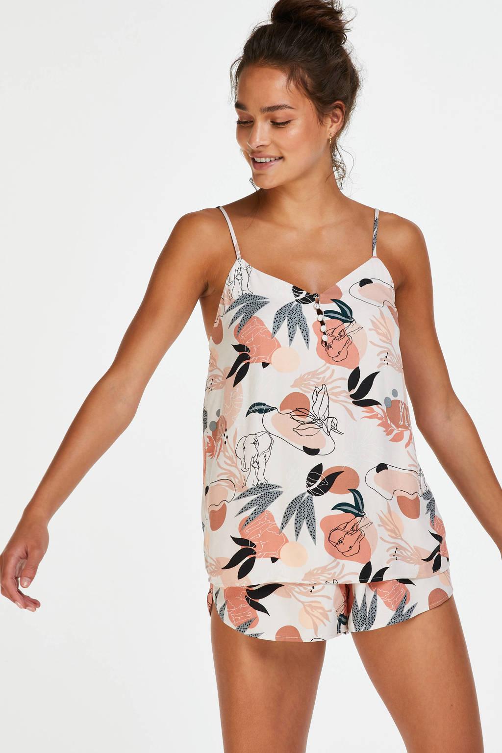 Hunkemöller gebloemde pyjamatop ecru/roze, Ecru/roze