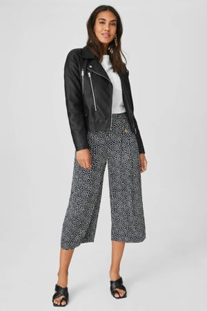 culotte met all over print donkerblauw/wit