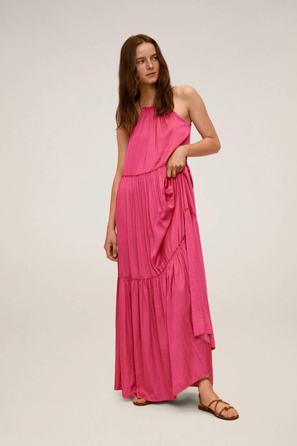 Mango halter jurk met ruches roze, Roze