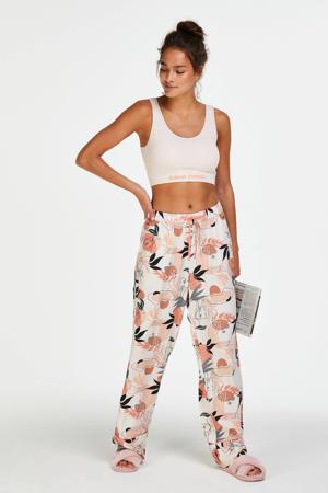 gebloemde pyjamabroek ecru/roze