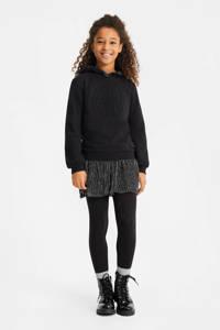 WE Fashion hoodie met tekst en borduursels zwart, Zwart