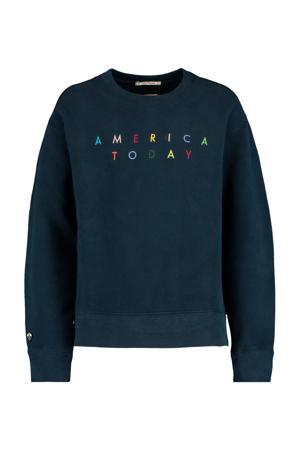 sweater Summer met tekst blauw