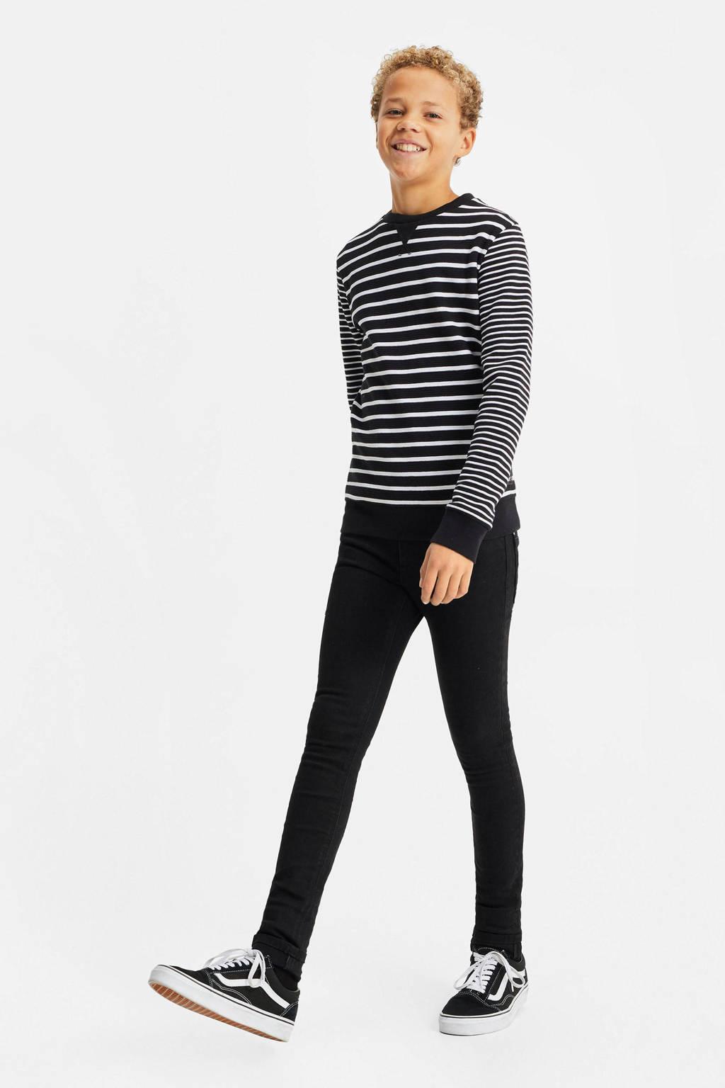 WE Fashion regular fit longsleeve zwart/wit, Zwart/wit