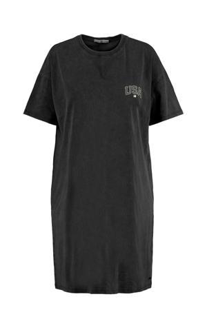 T-shirtjurk met tekst zwart