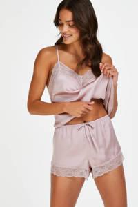 Hunkemöller pyjamatop met kant lichtroze, Lichtroze