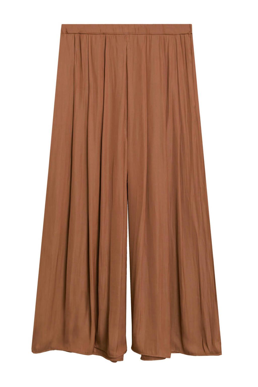 Mango cropped high waist loose fit pantalon bruin, Bruin