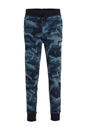 regular fit broek met camouflageprint blauw