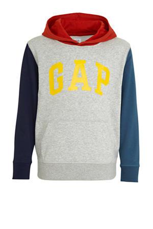hoodie met logo grijs melange/blauw/rood