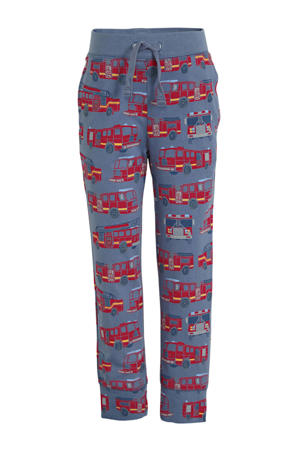 joggingbroek met all over print blauw/rood