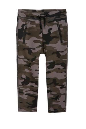regular fit broek met camouflageprint legergroen/beige/zwart