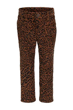 corduroy regular fit broek met panterprint bruin/zwart